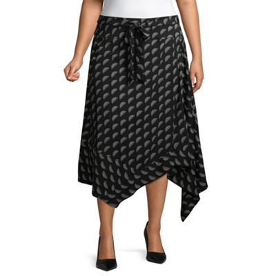 Worthington Womens Midi Wrap Skirt-Plus