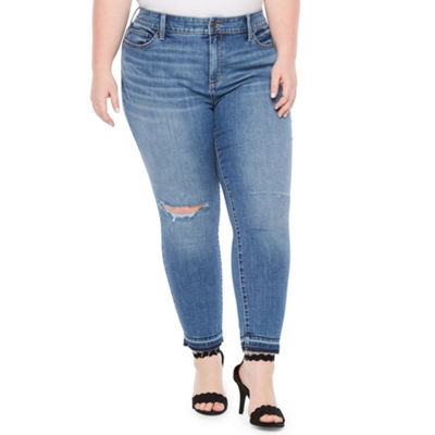 a.n.a Ripped Skinny Denim Ankle Jeans - Plus