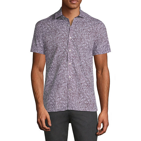 Axist Mens Short Sleeve Paisley Button-Front Shirt