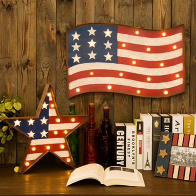 Patriotic LED American Flag Metal Marquee Lights