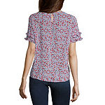Liz Claiborne Womens Scoop Neck Short Sleeve Blouse