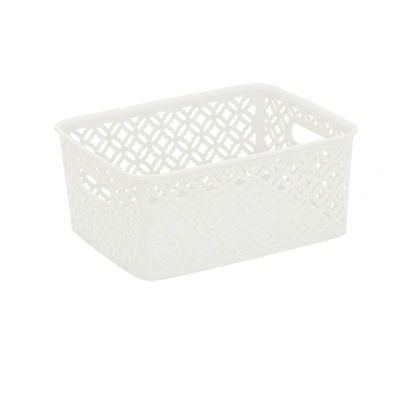 Trellis Storage Tote- White- Small 10X8X4