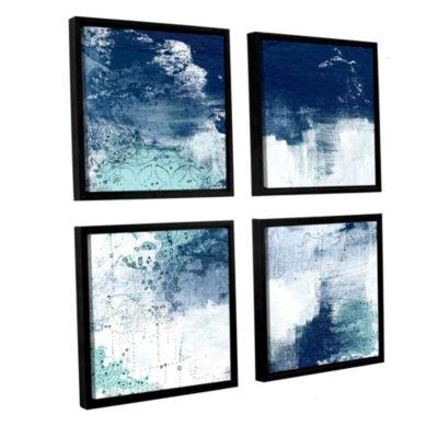 Navy II 4-pc SquareFloater-Framed Gallery WrappedCanvas Set