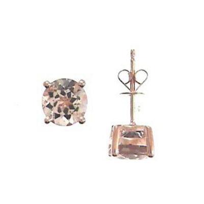LIMITED QUANTITIES! Genuine Pink Morganite 14K Rose Gold 7mm Stud Earrings