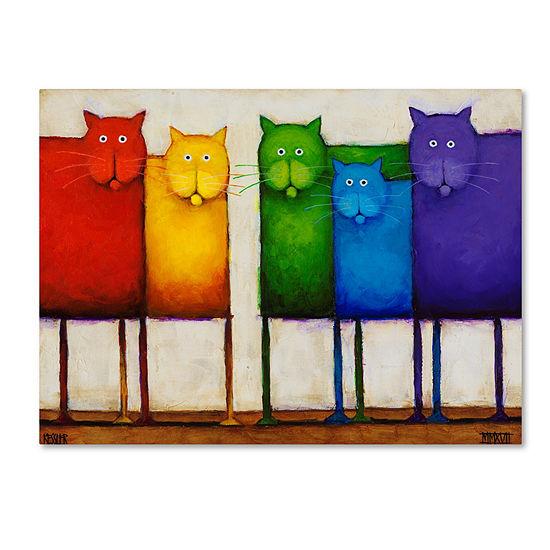 Trademark Fine Art Daniel Patrick Kessler Rainbow Cats Giclee Canvas Art