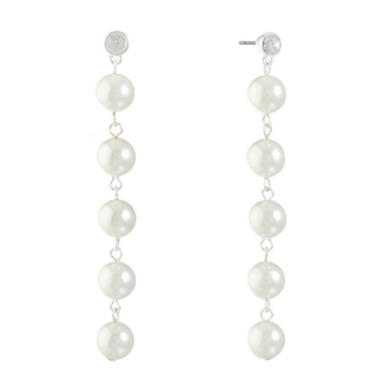 Monet Jewelry Clear Simulated Pearl Drop Earrings