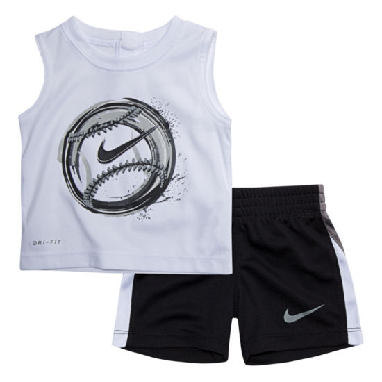 Nike 2-pc. Baseball Muscle Tee Short Set- Baby Boys
