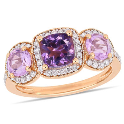 Womens 1/3 CT. T.W. Genuine Purple Amethyst 18K Rose Gold Over Silver Cocktail Ring
