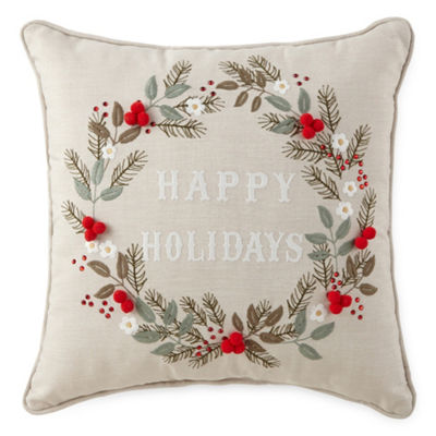 North Pole Trading Co. Happy Holidays Square Throw Pillow
