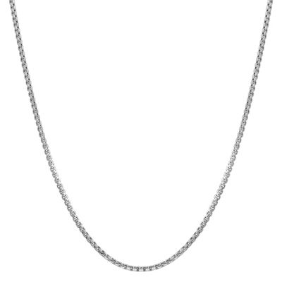 14K White Gold 18 Inch Hollow Box Chain Necklace