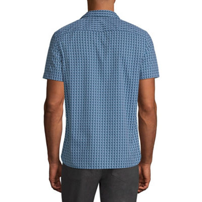 Axist Short Sleeve Geometric Button-Front Shirt