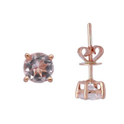 Genuine Pink Morganite 10K Rose Gold 5mm Stud Earrings