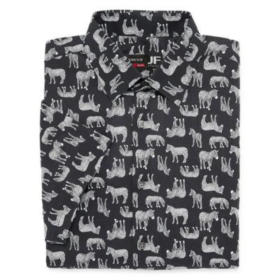 JF J.Ferrar Stretch Mens Spread Collar Short Sleeve Stretch Dress Shirt - Slim
