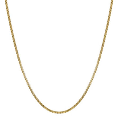 14K Gold 18 Inch Hollow Box Chain Necklace