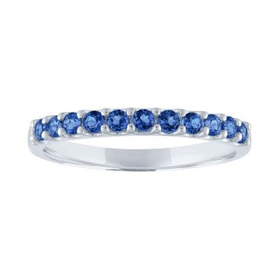 Modern Bride Gemstone Womens Genuine Blue Sapphire 10K White Gold Stackable Ring