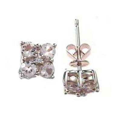 Diamond Accent Genuine Pink Morganite 14K Rose Gold 7mm Stud Earrings