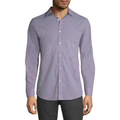 Axist Mens Long Sleeve Geometric Button-Front Shirt