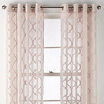 JCPenney Home Zuri Clipped Grommet-Top Single Sheer Curtain Panel
