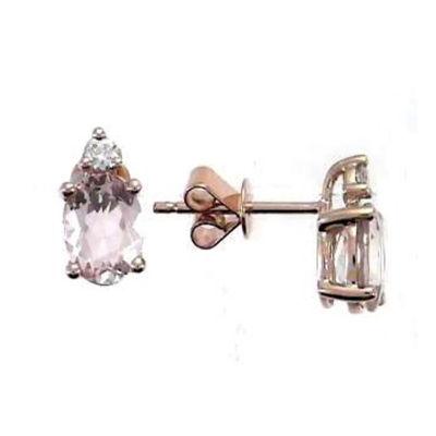 Diamond Accent Genuine Pink Morganite 10K Rose Gold 10mm Stud Earrings