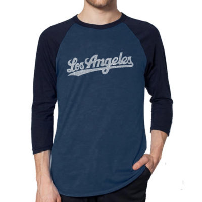 Los Angeles Pop Art Men's Raglan Baseball Word Art T-shirt