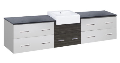 96.25-in. W Wall Mount White-Dawn Grey Vanity SetFor 3H8-in. Drilling Black Galaxy Top