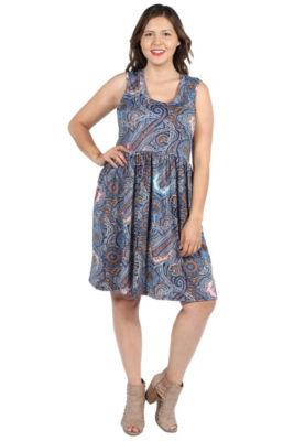 24Seven Comfort Apparel Kirstin Multicolor Sleeveless Dress - Plus