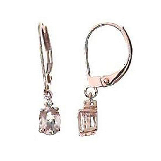 LIMITED QUANTITIES! Diamond Accent Genuine Pink Morganite 14K Rose Gold 22mm Hoop Earrings