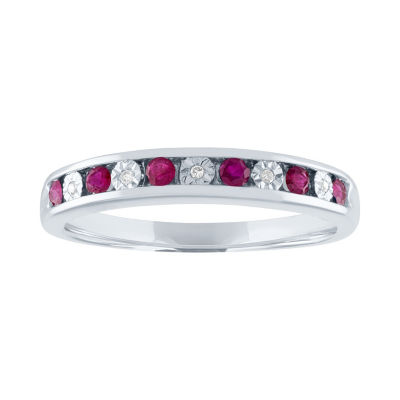 Modern Bride Gemstone Lead Glass-Filled Ruby & Diamond Accent 10K White Gold Wedding Band