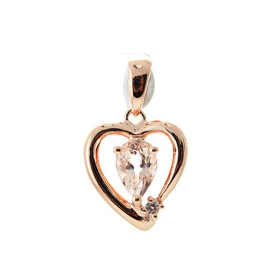 Womens Genuine Pink Morganite Sterling Silver Pendant Necklace