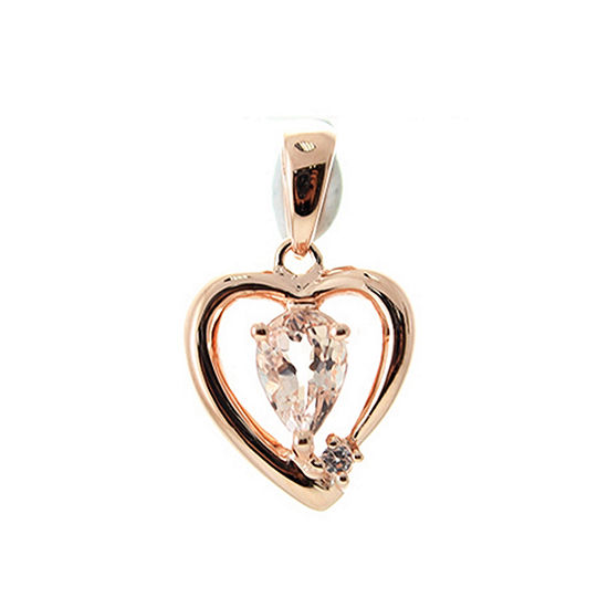 LIMITED QUANTITIES! Womens Genuine Pink Morganite Sterling Silver Pendant Necklace