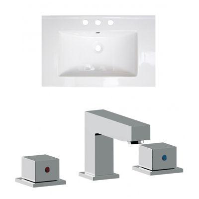 24.25-in. W 3H8-in. Ceramic Top Set In White Color- CUPC Faucet Incl.