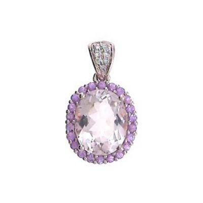 Womens Diamond Accent Genuine Pink Morganite 14K Rose Gold Pendant Necklace