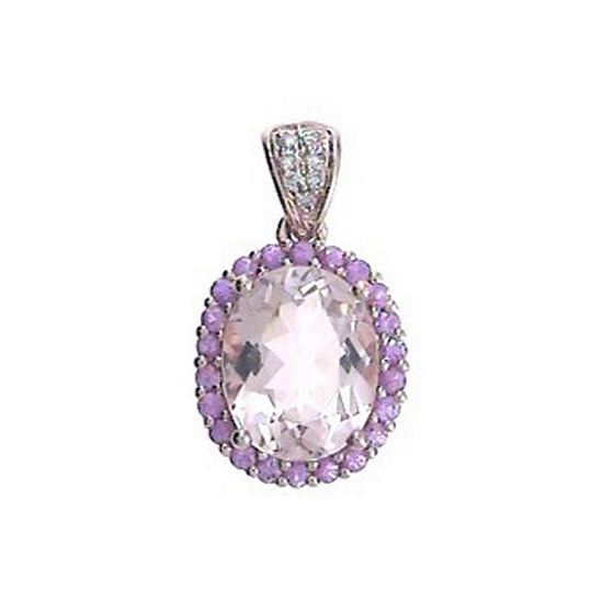 Womens Diamond Accent Genuine Pink Morganite 14K Rose Gold Pendant Necklace