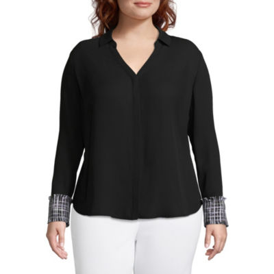 Worthington Long Sleeve Button Front Blouse with Cuff Detail - Plus
