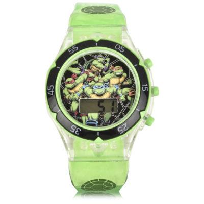 Teenage Mutant Ninija Teenage Mutant Ninja Turtles Unisex Green Strap Watch-Tmr4080jc