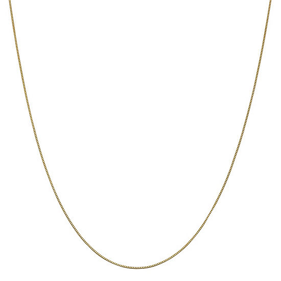 """14K Gold 14-30"""" Solid Box Chain Necklace"""