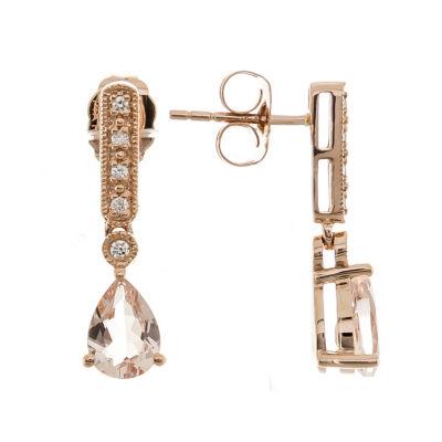 Diamond Accent Genuine Pink Morganite 10K Rose Gold Drop Earrings