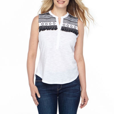 Liz Claiborne Tassel Trim Embroidered Tank Top