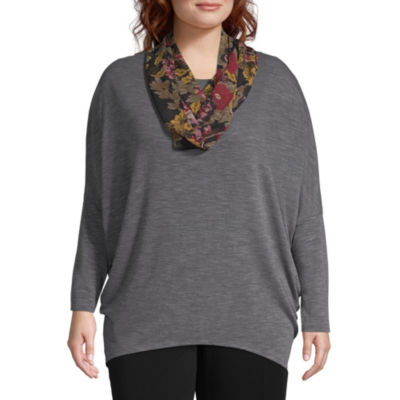 Alyx Long Sleeve Knit Blouse with Scarf - Plus