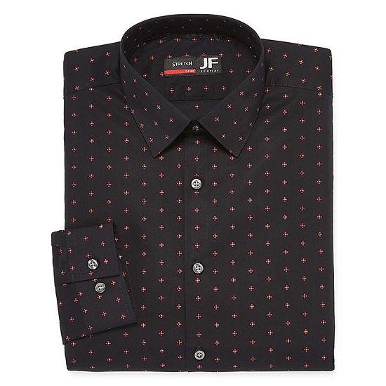 JF J.Ferrar Easy Care Stretch Mens Point Collar Long Sleeve Stretch Dress Shirt - Slim