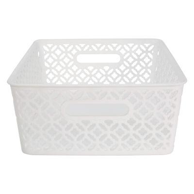 Trellis Storage Tote- White- Medium 14X11.5X5.3 inches