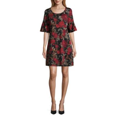 Ronni Nicole Elbow Sleeve Floral Shift Dress-Petites