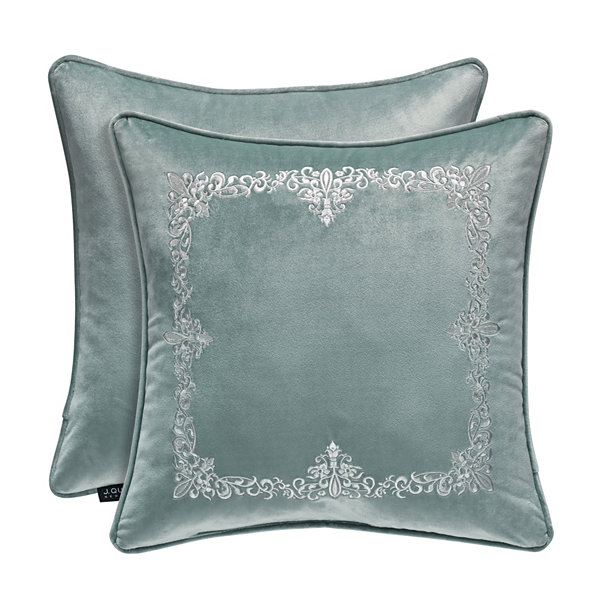 Queen Street Delphina 18x18  Embrodiery Square Throw Pillow