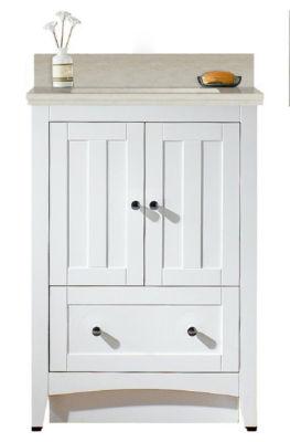 23.75-in. W Floor Mount White Vanity Set For 1 Hole Drilling Beige Top White UM Sink