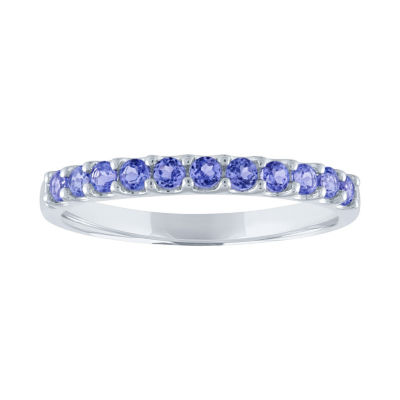 Modern Bride Gemstone Womens Genuine Purple Tanzanite 10K White Gold Wedding Stackable Ring