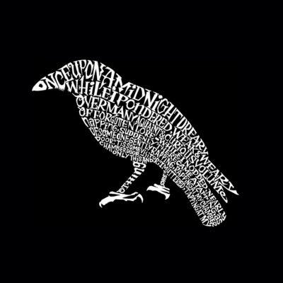 Los Angeles Pop Art Women's Raglan Word Art T-shirt - Edgar Allen Poe's The Raven