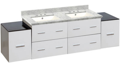74-in. W Wall Mount White Vanity Set For 3H8-in. Drilling Bianca Carara Top Biscuit UM Sink