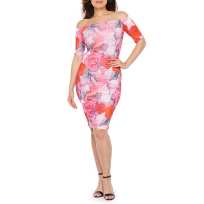 Premier Amour Short Sleeve Off The Shoulder Floral Sheath Dress