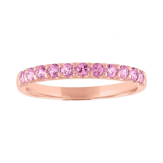 Modern Bride Gemstone Womens Genuine Pink Sapphire 10K Rose Gold Wedding Stackable Ring