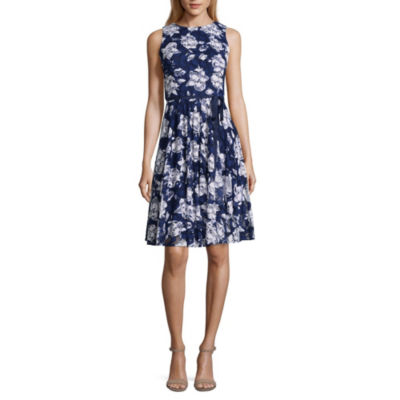 Danny & Nicole Sleeveless Floral A-Line Dress-Petite